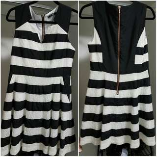 Portmans black and white stripy dress with lace