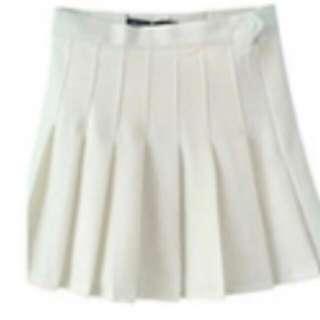 網球 百褶裙 白色