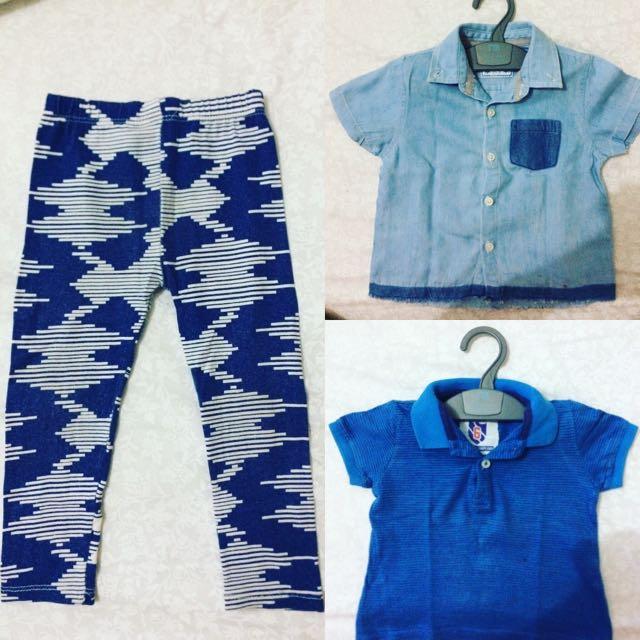 1 Kemeja Tangan Pendek, 1 Polo Shirt Lengan Pendek, 1 Celana Legging