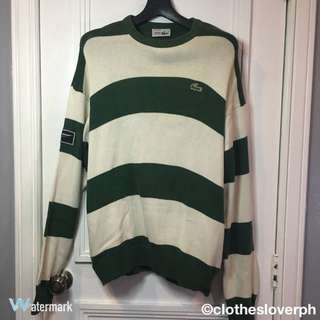 GREEN AND WHITE STRIPED LACOSTE SWEATER