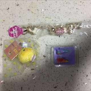 Claire's磁鐵/夾式耳環 小雞吊飾 手鍊