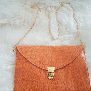 Orange Clutch With Gold Hardware Faux Crocodile Skin