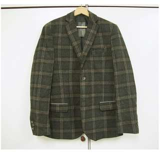 🚚 特價-國外代購-誠可議-質感混羊毛毛呢格紋西裝外套