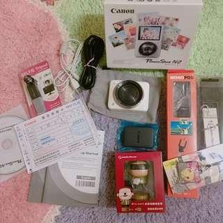Canon PowerShot N2 自拍粉餅機(公司貨)+盒裝+保固證明+電池2顆+32g高速記憶卡+自拍桿+小贈品