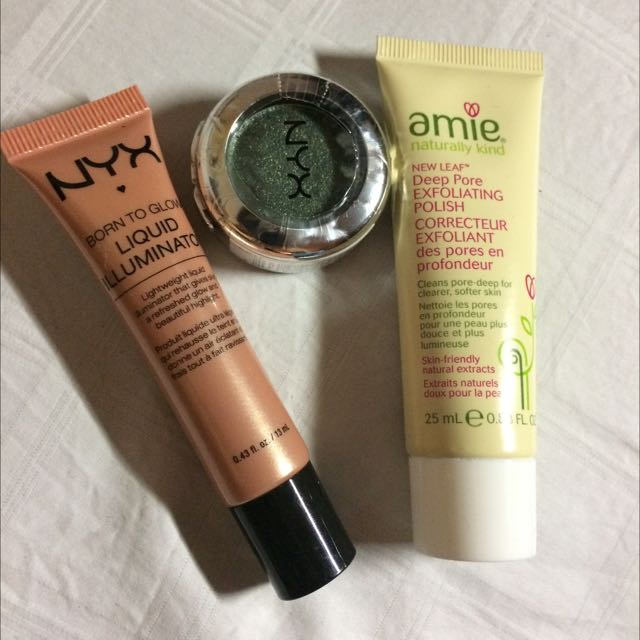 3 Items, Nyx Illuminator, Nyx Eye Shadows, Amie Exfoliating Wash
