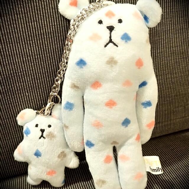 宇宙人絨毛磁鐵吊飾-撲克熊