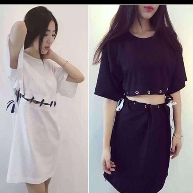 黑色兩件式綁帶洋裝