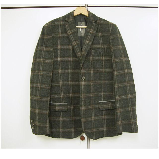 特價-國外代購-誠可議-質感混羊毛毛呢格紋西裝外套