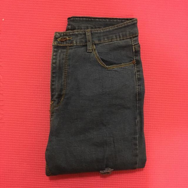 🙌實圖出清🙌彈力型鉛筆褲刷破牛仔褲-原色