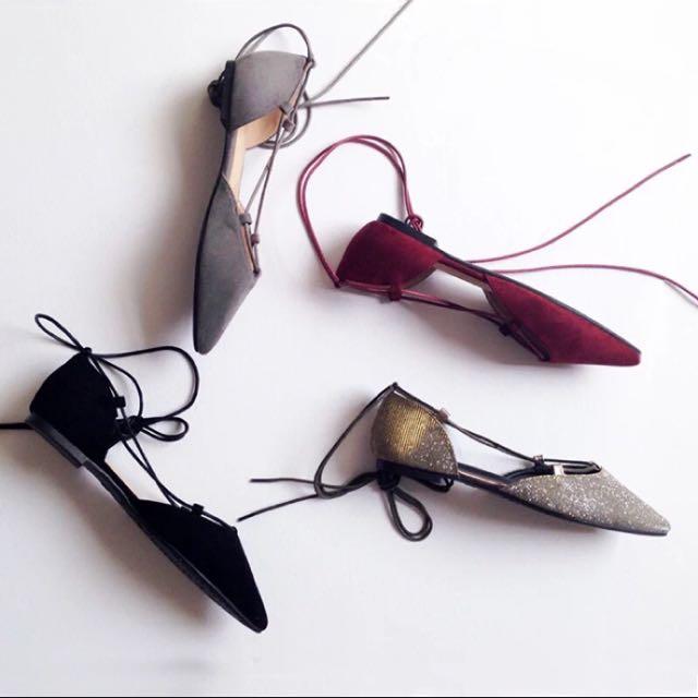 歐美 麂皮綁帶尖頭平底鞋