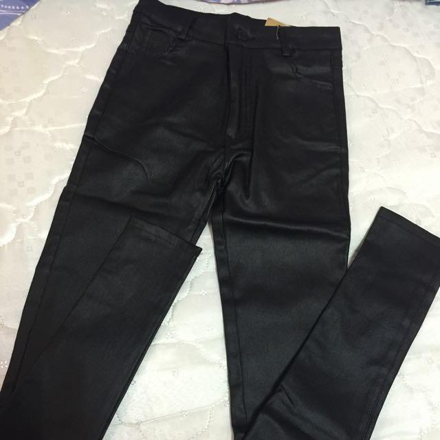 韓版皮褲有拉鍊 S