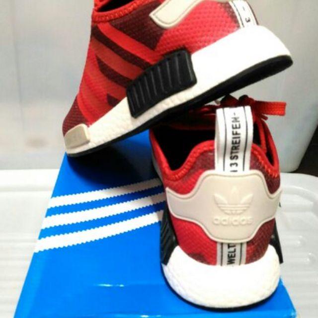 Adidas nmd 41 潮鞋幾何紅R1 特殊配色偏大