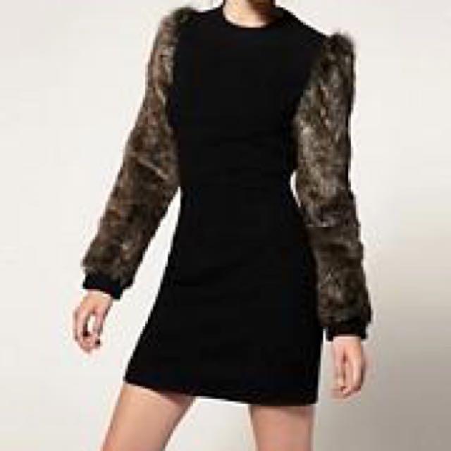 Asos Revive Faux Fur Sleeve Dress