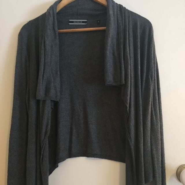 Basque Knit Waterfall Cardigan Charcoal Grey Size 8