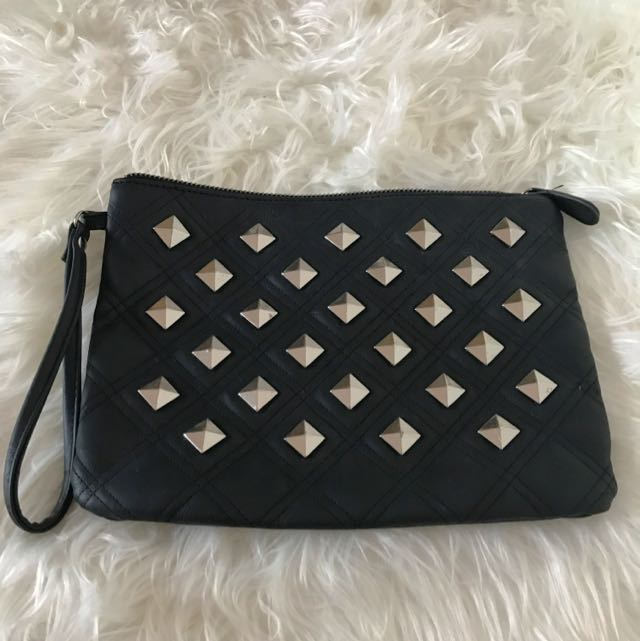 Black And Silver Studded Clutch