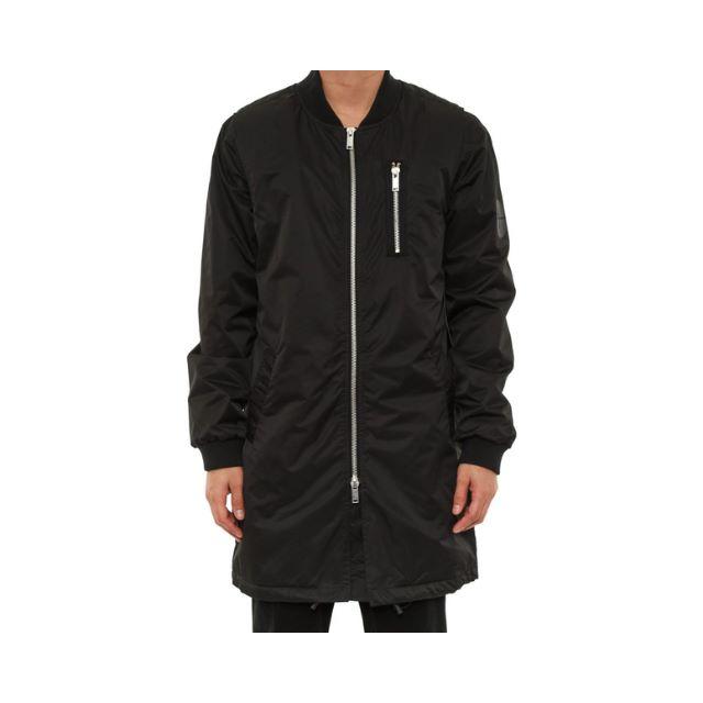 Black Longline Nylon Bomber Jacket