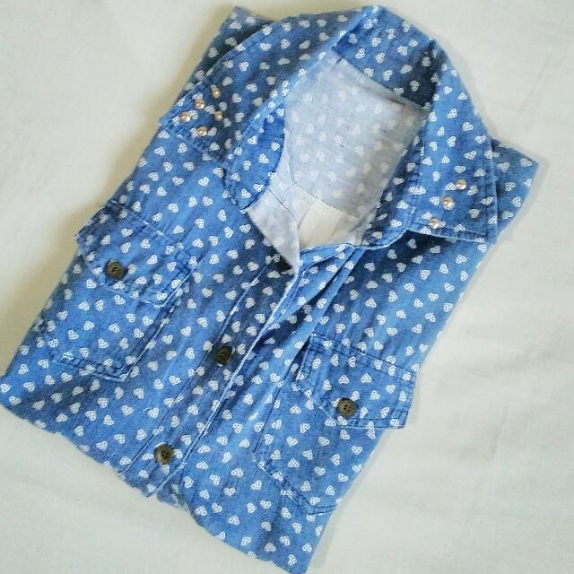 Blue Chiffon Long Sleeves