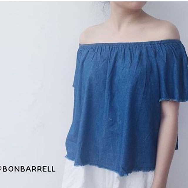 Bon Barrel off shoulder jeans
