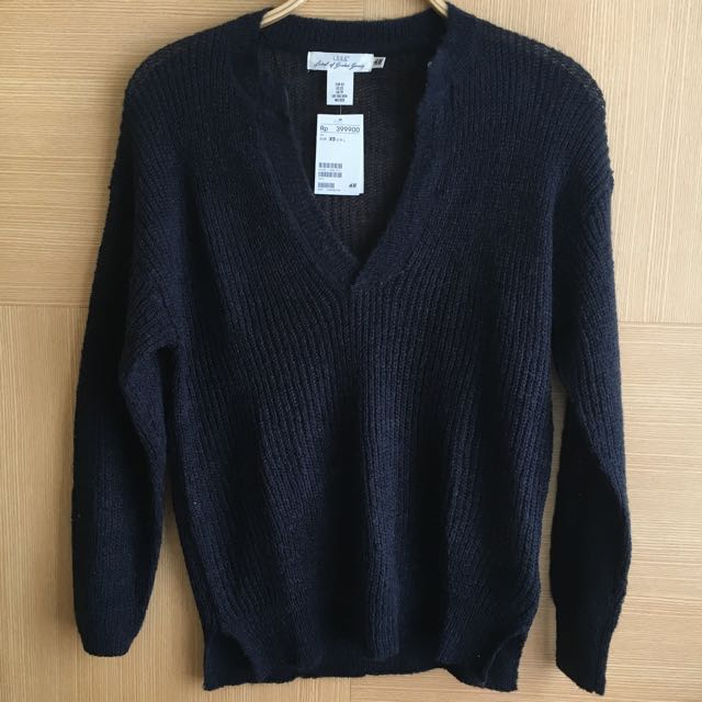 Dark Navy Knitted Wool Sweater H&M