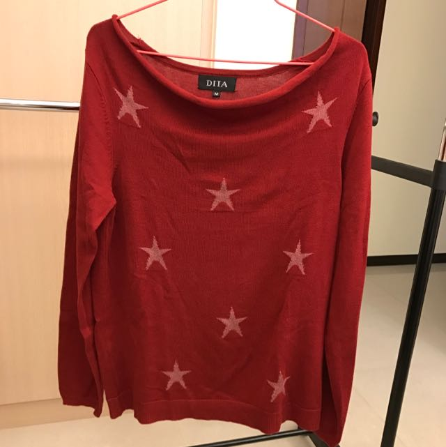 《DITA》紅色星星長䄂針織衫(M號)