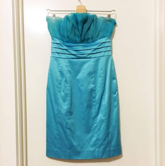 EVENTS LIGHT BLUE strapless dress