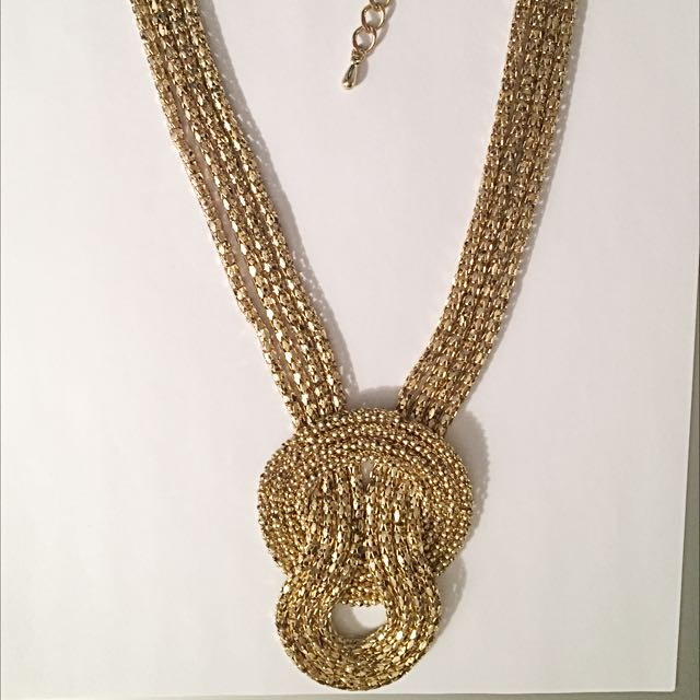 faux Knot Gold Necklace