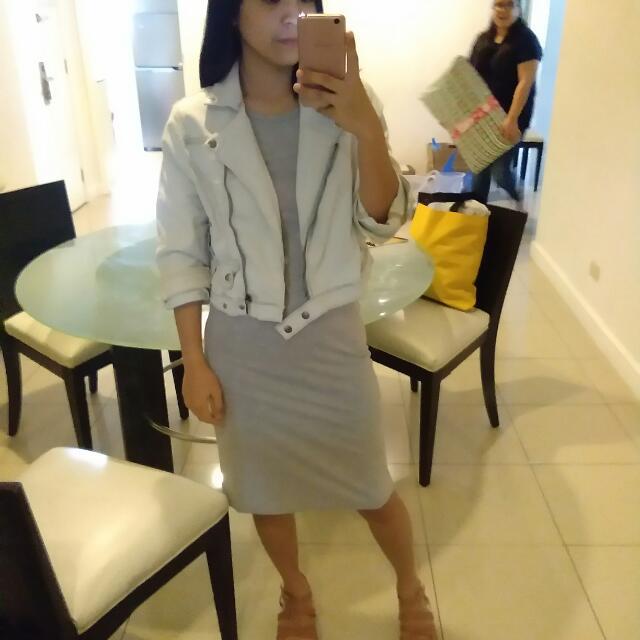 Get This Pair❤ Hotkiss Acid Wash Denim Jacket Gray Sleeveless Maxi Dress
