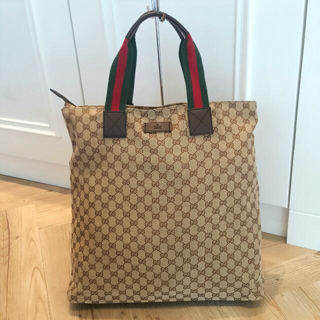 Gucci 經典 綠紅綠 緹花布 購物包 手提包