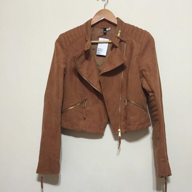 全新H&M香港帶回騎士麂皮帥氣外套