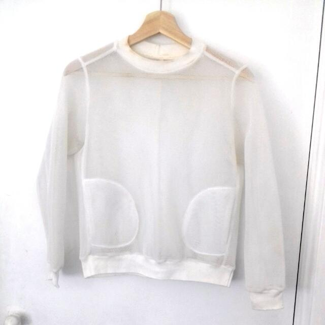 KLOKE White Mesh Jumper With Pockets