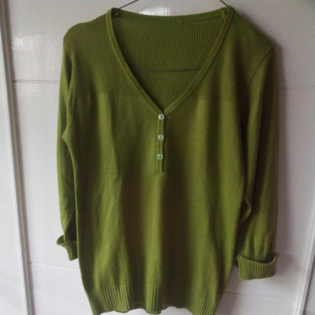 Knitted Green Blouse Tangan 3/4