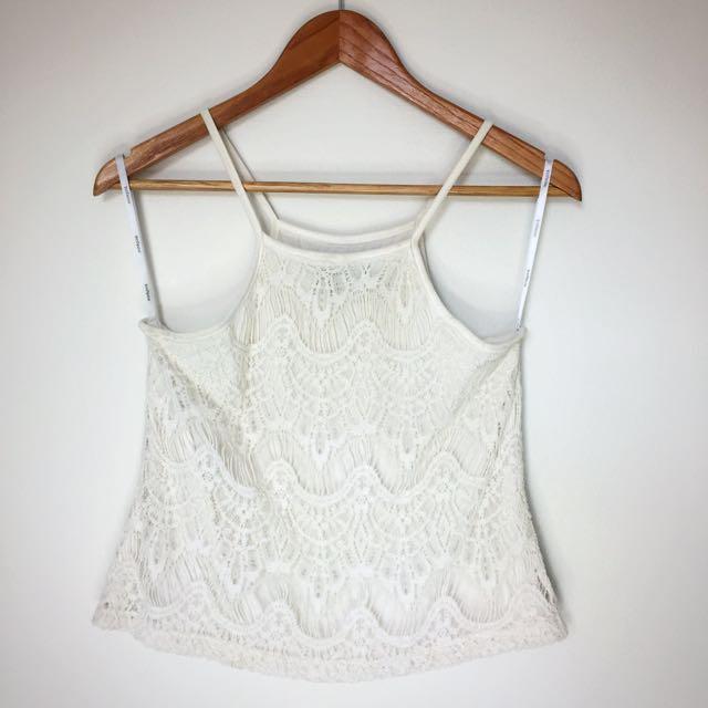 MINKPINK Sz XS Pure White Cropped Lace Tank