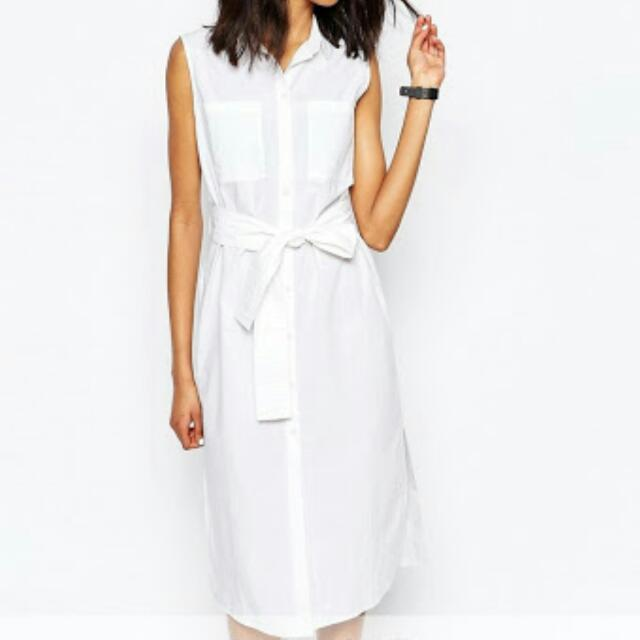 Monki Exclusive Wrap Tie Sleeveless Shirt Dress