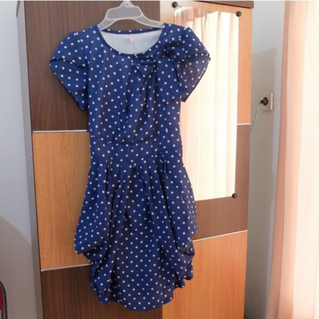 Navy Ballon Minidress Polkadot Pattern