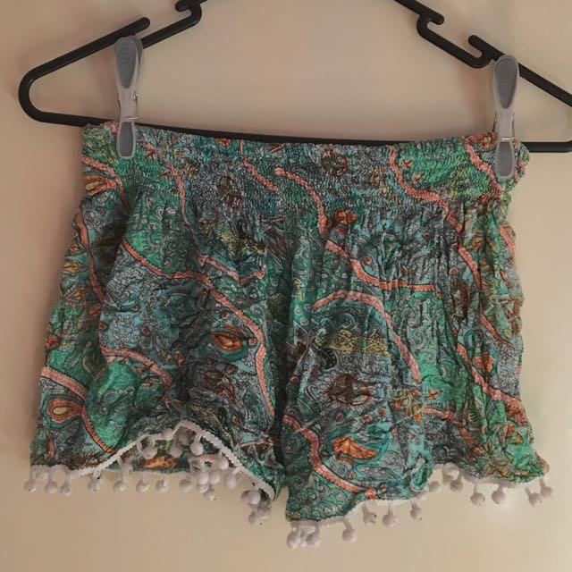 Patterned Pom Pom Shorts