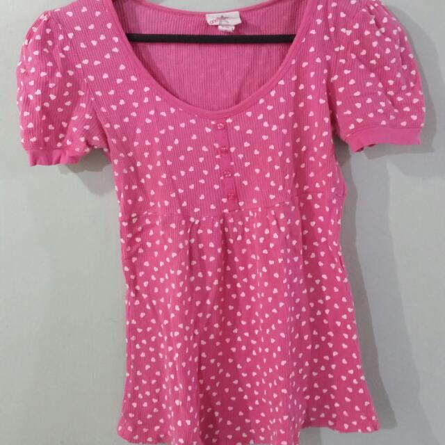 Pink Heart Sweet Heart Neckline Shirt