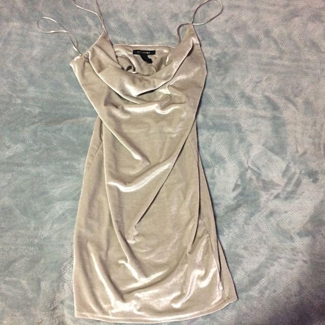 Plunging Grey Suede Dress
