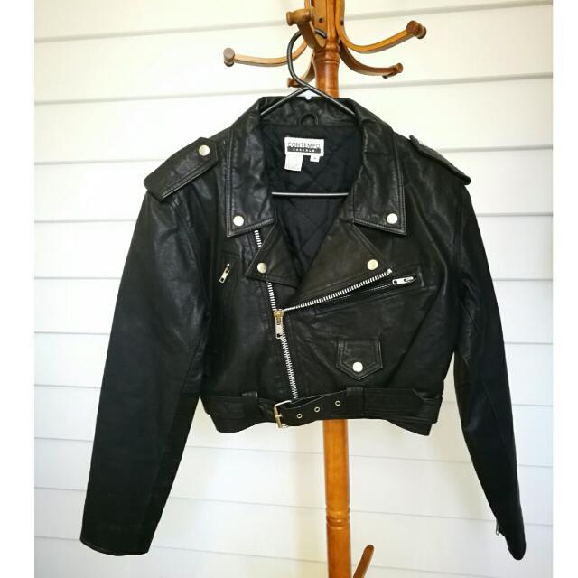 PRICE DROP!! Genuine Vintage Black Leather Biker Jacket 1960's style PRICE DROP!!