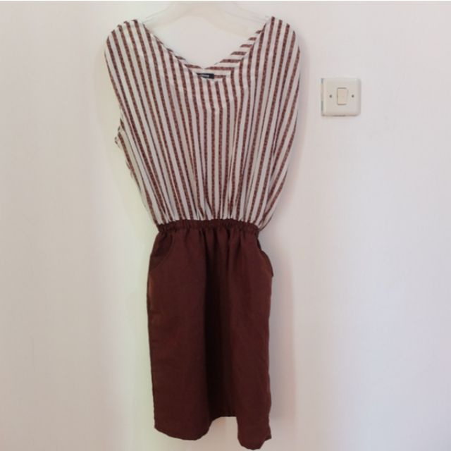 Sleveless Brown Stripes Minidress