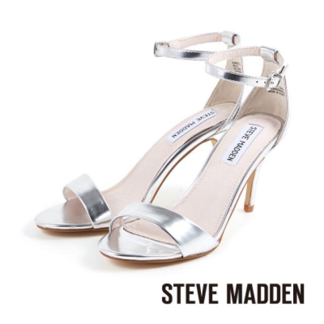 Steve Madden金屬銀色跟鞋(降)