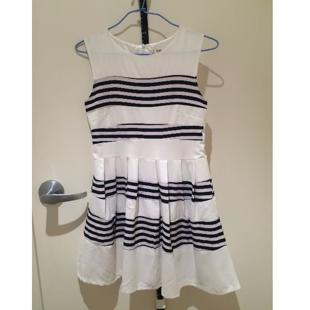 Striped Sailor style White and Navy Dress