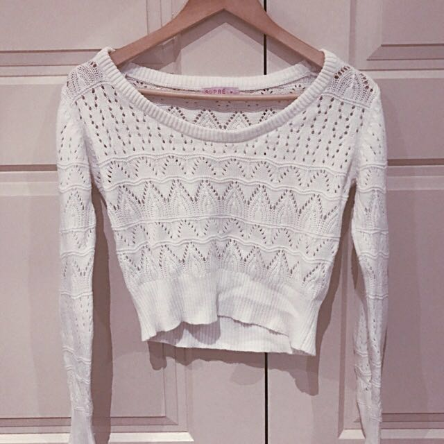 Supre Cropped White Knit Jumper