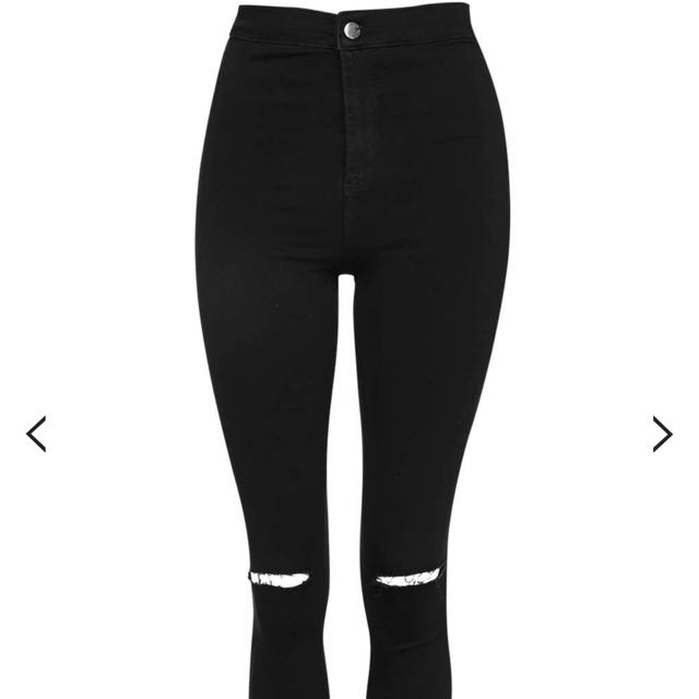 Topshop MOTO Black Ripped JONI Jeans