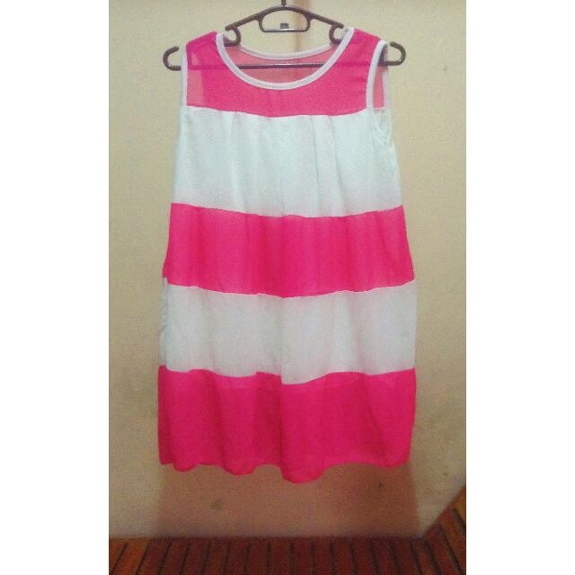 White And Pink Puffed Dress