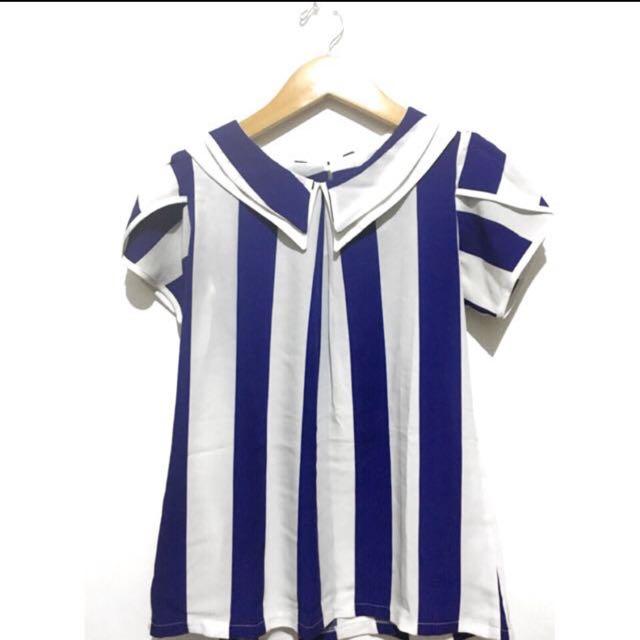 white blue stripes blouse