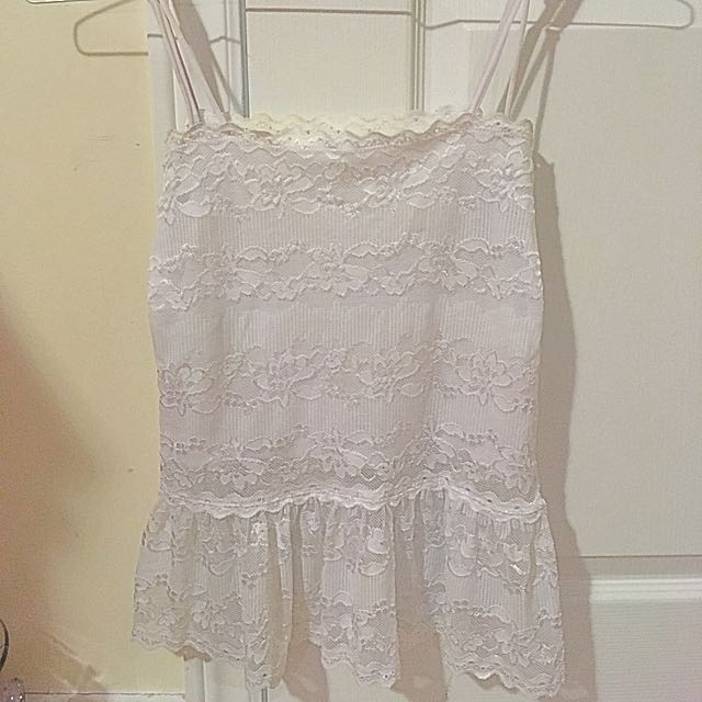 White Embroidered Lace Tank