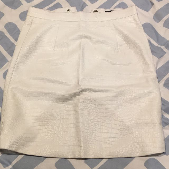White Snake Skin Skirt From Bardot
