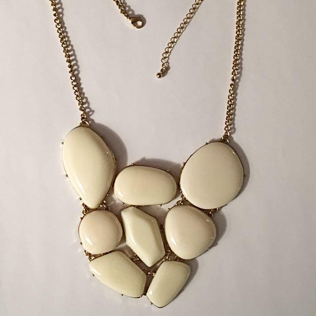 White stone Bib Necklace