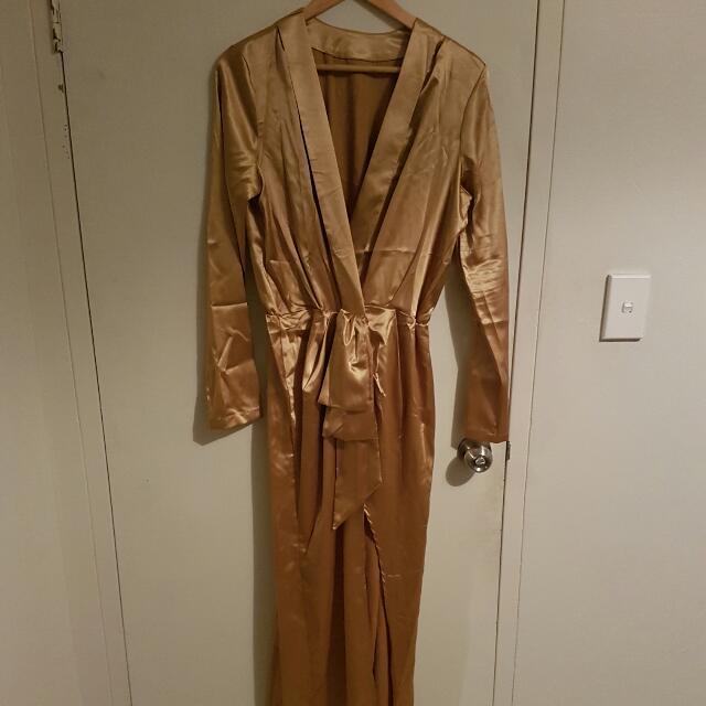 Wrap Dress - Gold - L