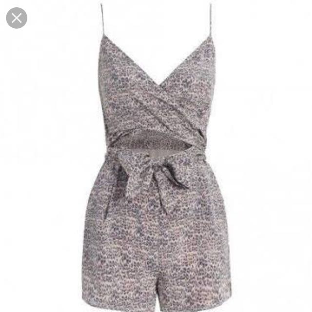 Zimmermann Silk Wrap Play suit in leopard Print